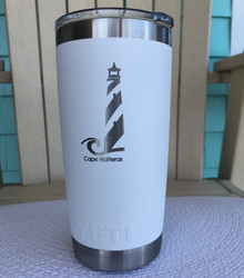 Custom Yeti 20oz White Tumbler with Cape Hatteras Lighthouse