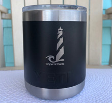 Custom Yeti 10oz Black Lowball with Cape Hatteras Lighthouse