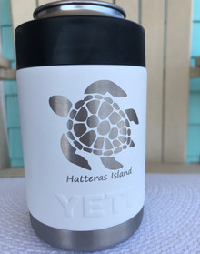 Custom Yeti White Colster with Sea Turtle