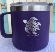 Custom Yeti 14oz Purple Mug with Sea Turtle