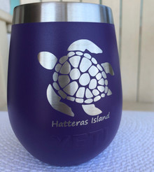 Custom Yeti 10oz Purple Wine Glass with Sea Turtle