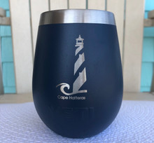 Custom Yeti 10oz Navy Wine Glass with Cape Hatteras Lighthouse
