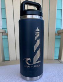 Custom Yeti 26oz Navy Bottle with Cape Hatteras Lighthouse
