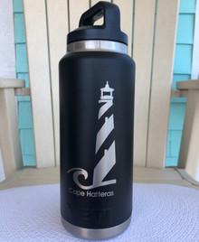 Custom Yeti 36oz Black Bottle with Cape Hatteras Lighthouse