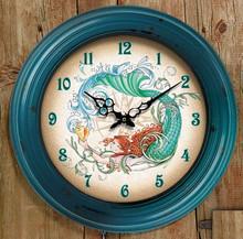 Mermaid Metal Bezel Clock