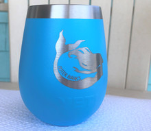Custom Yeti 10oz Reef Blue Wine Glass with Mermaid Outer Banks