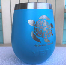 Custom Yeti 10oz Reef Blue Wine Glass with Sea Turtle Hatteras Island