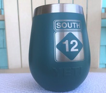 Custom Yeti 10oz River Green Wine Glass with South 12