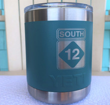 Custom Yeti 10oz River Green Lowball with South 12