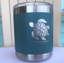Custom Yeti 10oz River Green Lowball with Sea Turtle Hatteras Island