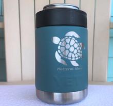 Custom Yeti River Green Colster with Sea Turtle Hatteras Island