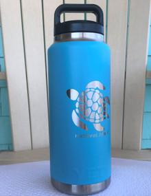 Custom Yeti 36oz Reef Blue Bottle with Sea Turtle Hatteras Island