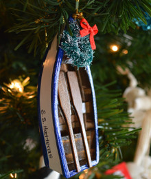 Blue Wooden Dory Ornament