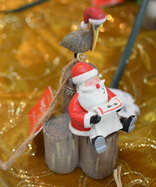 Santa on Piling with Pelican Ornament
