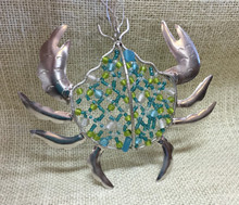 Beaded Sea Glass Crab Ornament