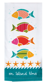 Island Time Tea Towel with Bright Fish