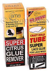 BMB Super Lace Glue Adhesive Tube & Citrus Glue Remover For Lace Wigs