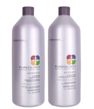 Pureology HYDRATE Shampoo & Conditioner for Dry Color Treated Hair Liter DUO