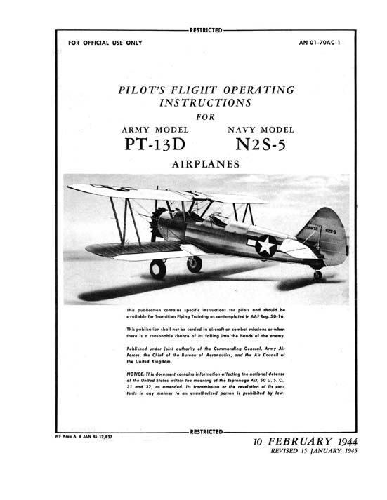 PT-13D / N2S-5 Stearman Pilot Manual