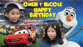 Cars & Olaf Birthday Banner