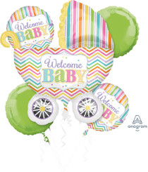 Welcome Baby Bright Chevron Stripe Stroller Bouquet (A SET OF 5)
