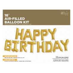 "16"" Happy Birthday Kit - Gold - Air-Filled"