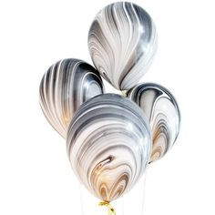 "11"" Black/White Marble Latex Balloon"