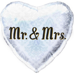 "18"" Mr & Mrs Silver Heart"