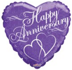 "18"" Anniversary With 2 Hearts"