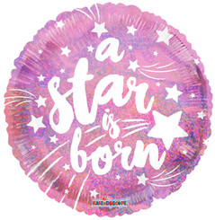 "18"" Round A Star Is Born Pink Holographic Balloon"