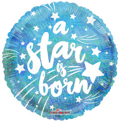 "18"" Round A Star Is Born Blue Holographic Balloon"