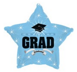 "18"" Congrats Grad Light Blue Star"
