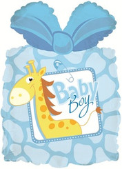 "28"" Baby Boy Present Shape Balloon"