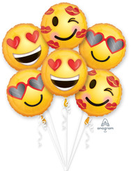 Emoticon Love Bouquet (6 balloons)