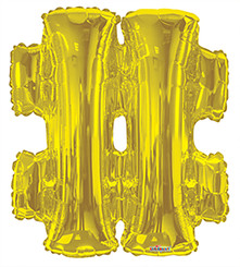 "34"" Gold Hashtag (#)"