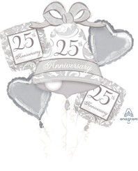 Silver Scroll 25th Anniversary Balloon Bouquet (A SET OF 5)