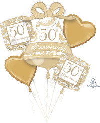 Gold Scroll 50th Anniversary Balloon Bouquet (A SET OF 5)