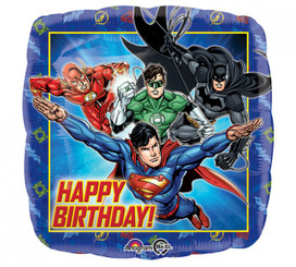 "18"" HBD Justice League Square"