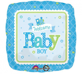 "18"" Baby Boy Train Square"
