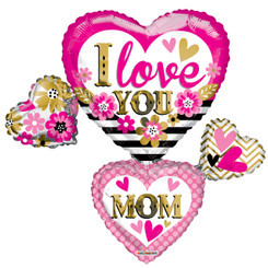 "36"" I Love You Mom Many Hearts"