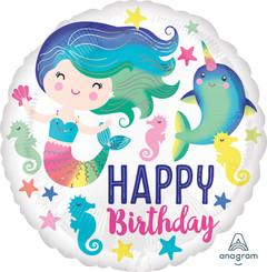 "18"" Colorful Ocean Fun Happy Birthday"