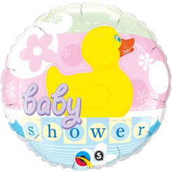 "18"" Round Foil Baby Shower Rubber Duckie"