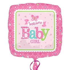 "18"" Welcome Baby Girl Butterfly Square"