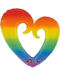 """32"""" Rainbow Open Heart"""