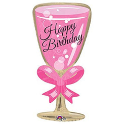 "29"" Happy Birthday Pink Glass"