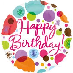 "18"" Happy Birthday Polka Dots"