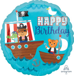 "18"" Happy Birthday Pirate Ship"