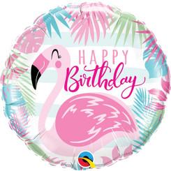 """18"""" Happy Birthday Pink Flamingo"""
