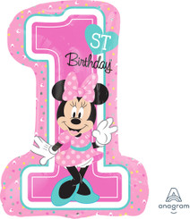 "28"" 1st Birthday Minnie Mouse SuperShape"