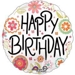 """28"""" Happy Birthday Peachy Flower Jumbo Balloon"""